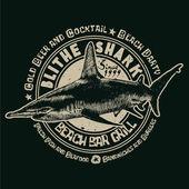 Blithe Shark Beach Bar and Grill — Stock Vector