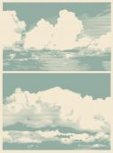 Set of clouds, retro engraving style. — Stock Vector