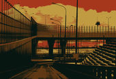 Grunge cityscape background. — Stock Vector