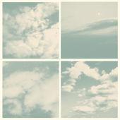 Set van wolken, retro stijl gravure. — Stockvector
