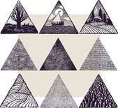 9 Triangles set — Stock Vector