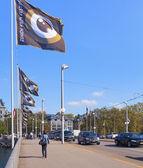 Urządzone z flagami festiwal filmowy zurich zurich — Zdjęcie stockowe