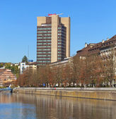 View on the Limmat river and the Mariott hotel building — Stock Photo