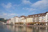 Lucerne in autumn morning — Stock Photo