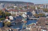 Zurich cityscape with the dockside crane — Stock Photo