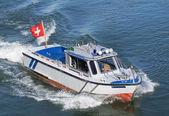 Police boat on Rhine in Basel — Stock Photo