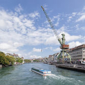 Zurich, view along the Limmat river — Stock Photo