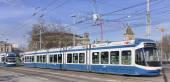 Trams on the Bahnhofbrucke bridge in Zurich — Foto de Stock