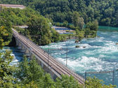 Bridge over the Rhine river at Rhine Falls. — Stock Photo