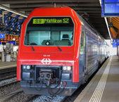 Train at the platform in Winterthur — Stock fotografie