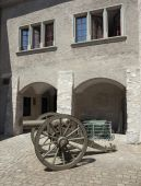 Old time cannon in Thun Castle — Stock Photo