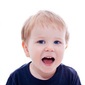 Toddler blond and blue eyes boy child with various facial expres — Stock Photo
