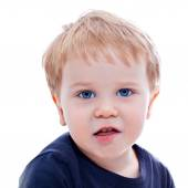 Toddler blond and blue eyes boy child with various facial expres — ストック写真