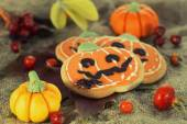 Halloween decor pumpkin cookies — Stock Photo