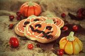ハロウィーン装飾カボチャ クッキー — ストック写真