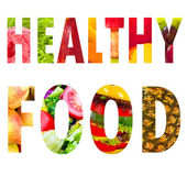 Healthy food word text in capital letters on white background — Stock Photo
