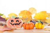 Halloween arrangement with cookie and pumpkins — Stockfoto