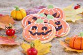 Halloween decor pumpkin cookies — Stock Photo