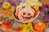 Halloween decor pompoen koekjes — Stockfoto