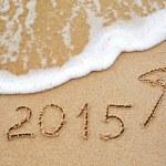 2015 written in the wet beach — Stock Photo #61214409