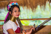 Karen tribal girl from Padaung long neck hill tribe village — Stock Photo