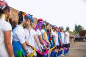 Tribal girls performing national dance — Foto Stock