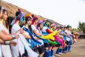 Tribal girls performing national dance — Stock Photo