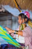 Karen tribal girl from Padaung long neck hill tribe village — Stock Photo