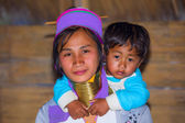 Karen tribal woman with her son — Foto Stock