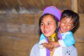 Karen tribal woman with her son — Stock Photo