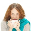 Young woman in blue scarf with white mug isolated on white backg — Stock Photo #55293753