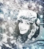 Emotional young woman in winter clothe — Stock Photo