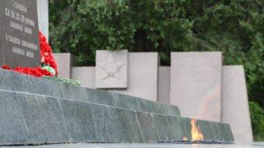 Eternal Flame of the Sapun-Mountain Memorial Complex — Stock Video