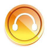 Headphones web button — Cтоковый вектор