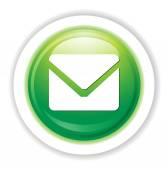 Bouton web brillant avec lettre signe — Vecteur