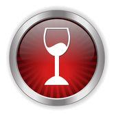 Restaurant glass button — Stock Vector