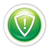 Кнопка опасности щит — Cтоковый вектор