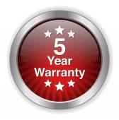 5 year warranty button — Stock Vector