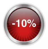 10 percent off button — Stock Vector