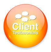 Client testimonials button — Stock Vector