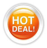 Hot deal button — Stock Vector