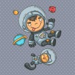 Постер, плакат: Boy and cat astronauts