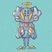 Praying monster  illustration — Stock Vector