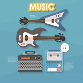 Musical guitars infographic — Stock Vector