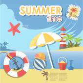 Summer time with beach — Stock Vector