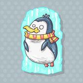 Frozen penguin illustration — Stock Vector