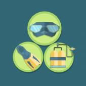 Flat icons of scuba — Stock Vector