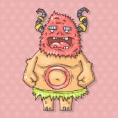 Cartoon monster savage — Stock Vector