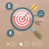 Target and magnifier infographic — Stock Vector