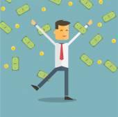 Successful entrepreneur and money rain. — Stock Vector